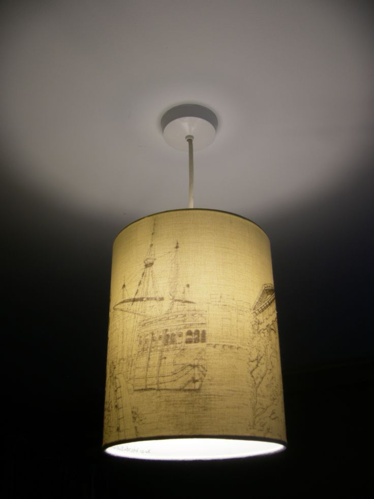 Hand drawn ceiling shade of The Matthew Ship by Bristol artist, Lisa Malyon (St George's Hall, Purdown Tower on reverse)