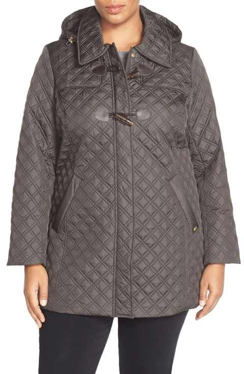 Ellen Tracy Toggle Closure Quilted A-Line Coat (Plus Size)