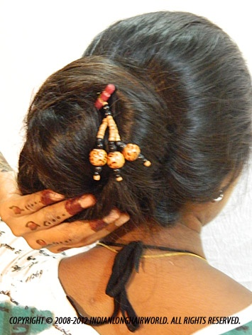 Long Hair Model of the Month September 2012. Swati with her long, thick thigh length hair in Khopa ( Traditional kolkatta style bun)
