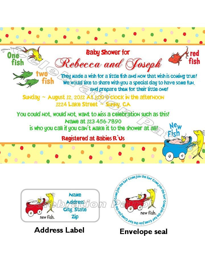Dr Seuss New Fish Theme Custom Baby Shower Invitations W/address Labels And  Envelope Seal