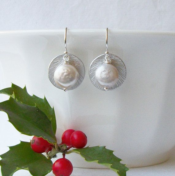 Orecchini perla della moneta moneta gioielli di di PeriniDesigns