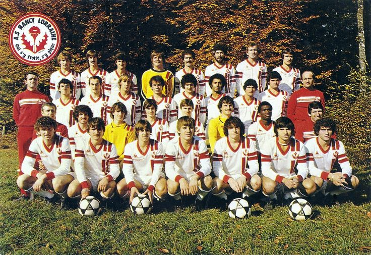 A.S NANCY-LORRAINE 1980-81  En haut : Perdrieau, Neubert, Zappia, Moutier, Cloet, Delpierre, Jeannol, Ferrière.  2ème rang : Huart (ent.), Rouyer, Zénier, Rubio, E. Martin, Delamontagne, Lokoli, Umpierrez, Collina, Bonnavia.  3ème rang : A. Platini, J.M Fisson, Jitten, Rus, Cartier, Caullery, Goram, Targon.  En bas : Toussaint, Poirson, Festor, H. Martin, Casini, Aubert, P. Fisson.