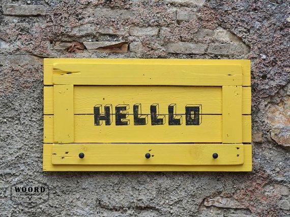 Coat rack Yellow decor Coat hooks Hello sign by WOORDshop on Etsy