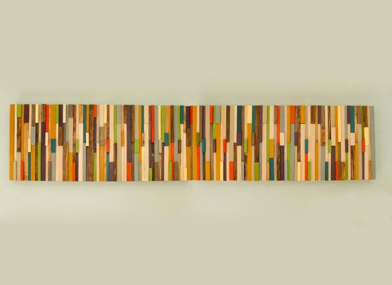 Holzskulptur 3D Wandskulptur gemalt Holzstücke von ArtGlamourSligo