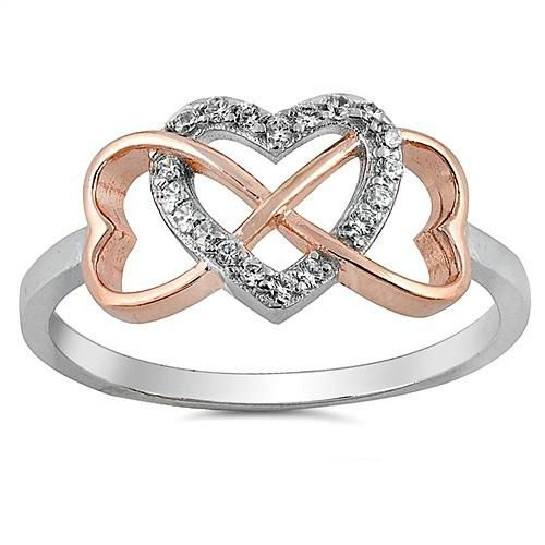 Nicola White Cubic Zirconia Heart Rose Gold Plated Infinity Sterling Silver Ring