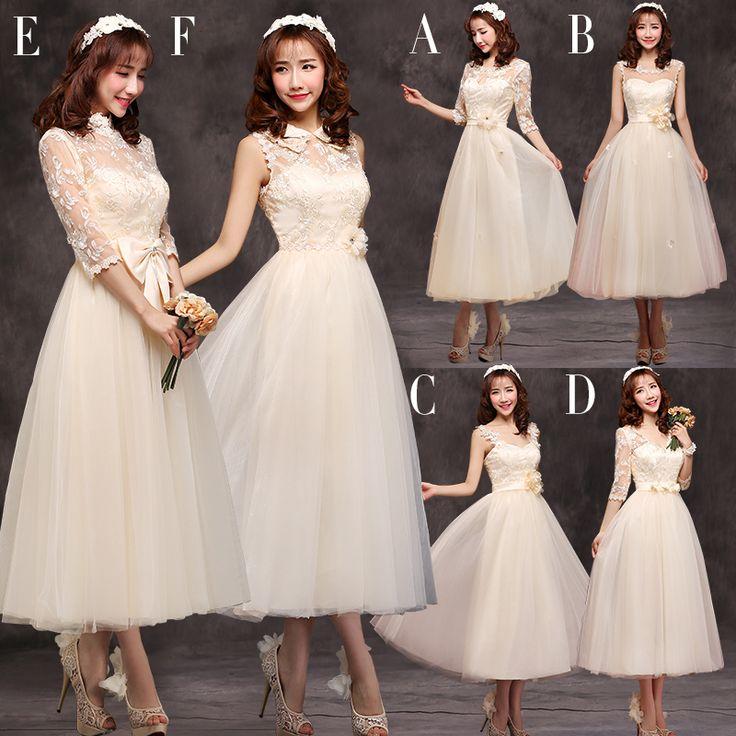Mid Calf Modest Bridesmaid Dress With Sleeves Lace Wedding Party Dress Bridesmaid Robes Vestido De Festa Longo 2015