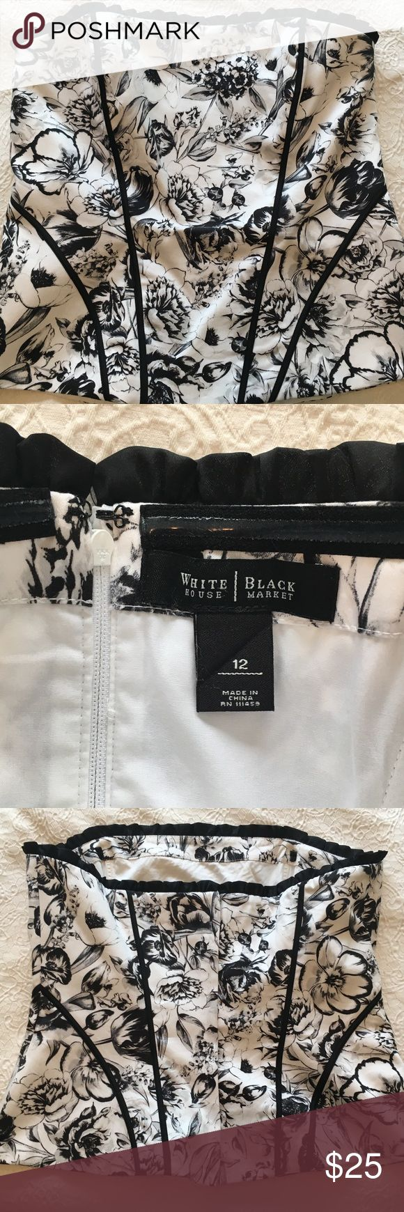 WHBM Strapless Corset Bustier 12 White House Black Market strapless corset bustier in size 12.  Excellent condition. White House Black Market Tops