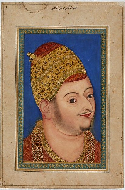 Sultan Ibrahim 'Adil Shah II Artist: Attributed to the Bikaner Painter Object Name: Illustrated manuscript, folio Date: ca. 1590 Geography: India, Bijapur Culture: Islamic Medium: Ink, opaque watercolor, and gold on paper Dimensions: H. 10 7/16 in. (26.5 cm) W 6 1/2 in. (16.5 cm) Framed: H. 21 1/4 in. (54 cm) W. 17 15/16 in. (44 cm) Classification: Codices Credit Line: The David Collection, Copenhagen, 105/2007
