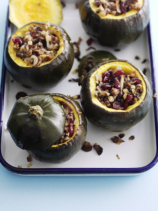 Gem squash with cranberry and chestnut stuffing