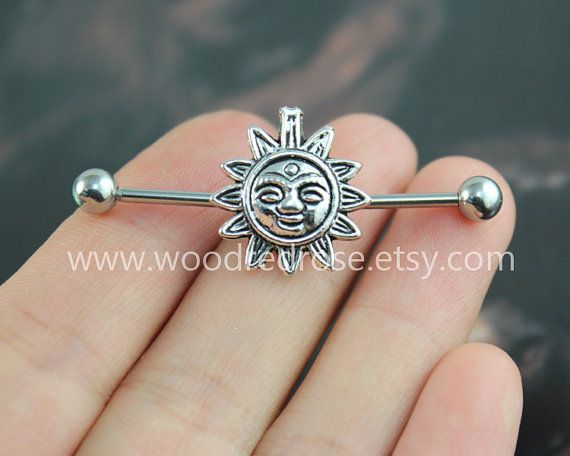 Sunflower Industrial Barbell,Ear Jewelry Double Piercing,Sunflower Cartliage Earring ,Sunflower Belly Button Rings