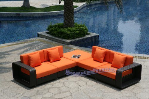 Modern Furniture All-Weather Collection: Pumpkin Mini Sectional Sofa by ModernLineFurniture. $1695.95. Outdoor furniture features: Resin wicker material and frame w/ rust-proof coated aluminum. Ships within 4-5 days.. Easy maintenance, cleans with soap and water. Set includes 4 Armless Chairs, Pair of detachable arms, and Corner piece (Ottoman). In stock in NJ warehouse.. Dimensions: See photo above for complete dimensions of sectional