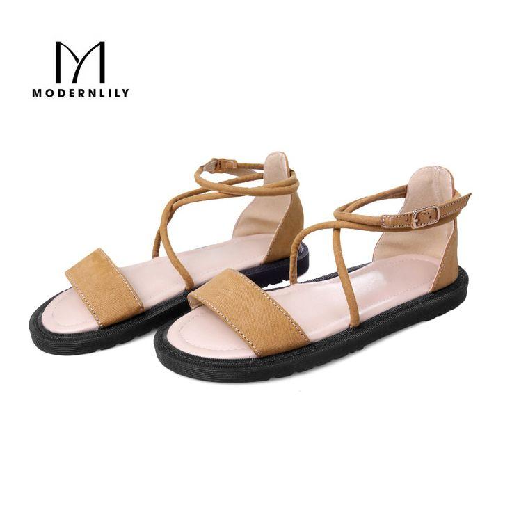 2017 Summer Women's Flats PU Leather Solid Sandals Rome Shoes Women Zapatos Mujer Chaussure Femme Scarpe Donna Anabela Sandals ** Ini pin AliExpress affiliate.  Klik tombol KUNJUNGI untuk penjelasan rinci