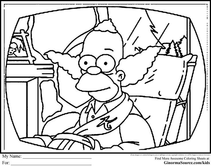 Simpsons Coloring Pages Krusty The Clown