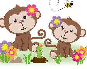 MONKEY WALLPAPER BORDER Wall Decals Baby Boy by decampstudios