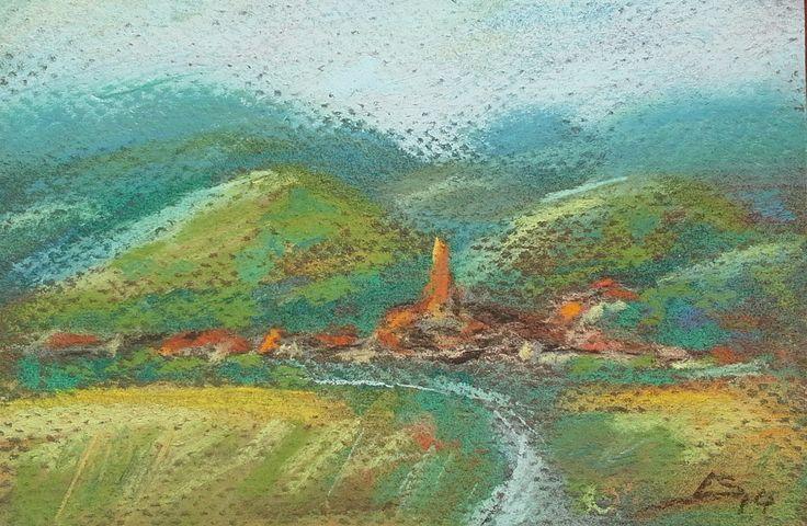 """""""Tara Oltului"""" Original Pastel Painting by Liudmila Suhorucova"""