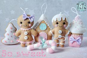 Adornos de Navidad JUEGO de 6 adornos de fieltro adornos por TiTics