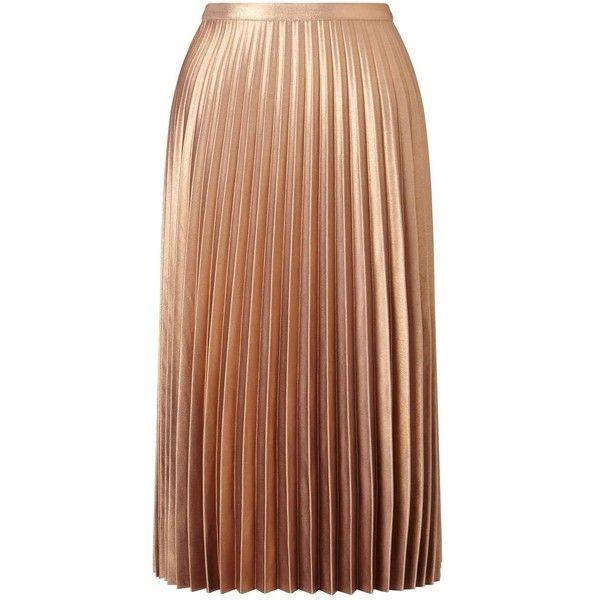 Miss Selfridge Metallic Pleated Midi Skirt (£73) ❤ liked on Polyvore featuring skirts, metallic, brown skirt, pleated midi skirt, mid calf skirts, metallic skirts and pleated skirt