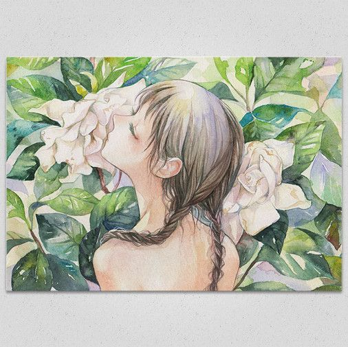 Gardenia Art Canvas Board by Izmi Toyoda