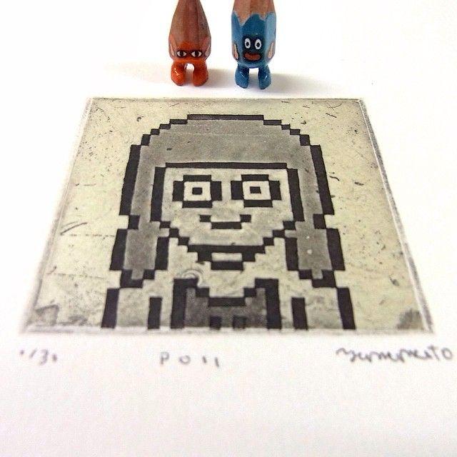 ✏️✏️ #art #artwork #illustration #etsy #etching #printmaking #portrait #8bit #people #paper #creative #craftsposure #miniature #miniprint #printmaker #drawing #intaglio #acrylic #tiny #figure #doll #tinydoll #wood #woodcarving #pencil #pencilman  #stationery #handmade