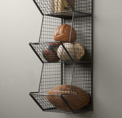 Industrial Wire Storage - 3 Bin Wall | Novelty Storage | Restoration Hardware Baby & Child Would be great for boys rooms, garage, or playroom.
