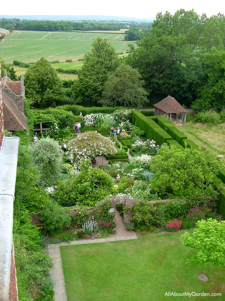 View of the White Garden, Yew Walk and the pastures beyond from the tower at Sissinghurst.