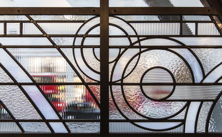 This would be a great accent to a normal window. Instead of symmetry, the piece still pulls off a modern look. It is devoid of any usual features on more classical stained glass. While the Robie house was more pointed, it is a great example on how wright also used stained glass.