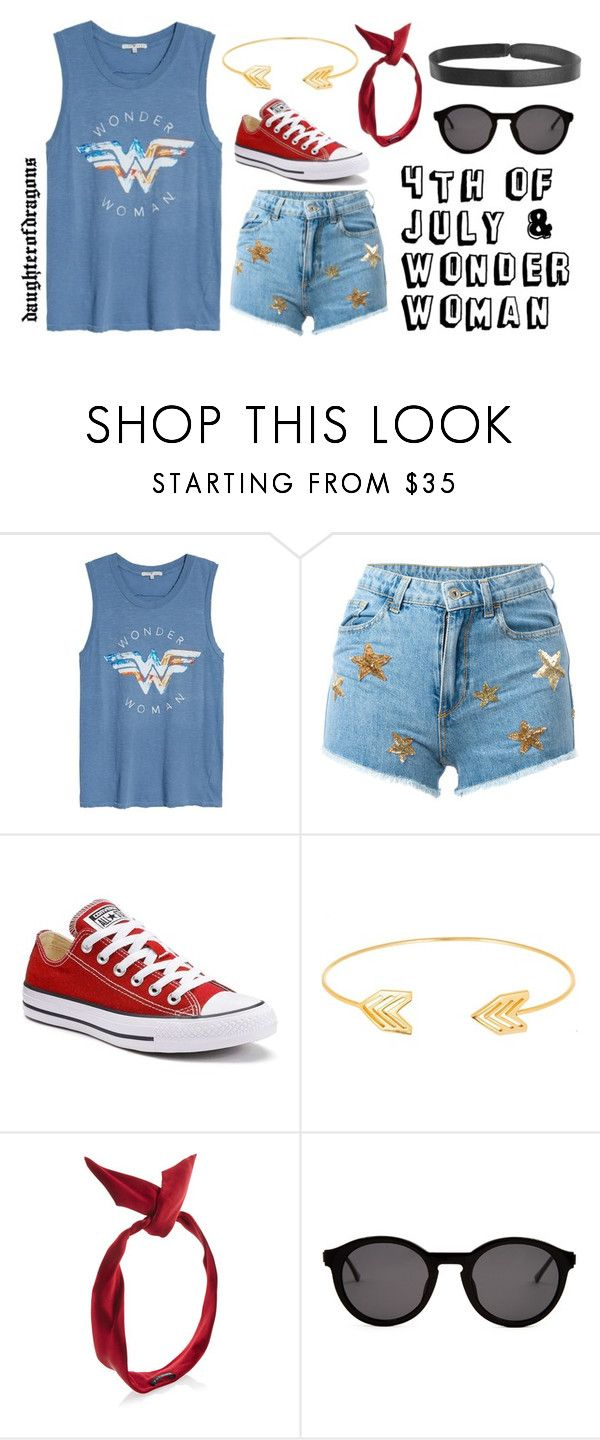 """""""4th of July Wonder Woman"""" by daughterofdragons on Polyvore featuring Junk Food Clothing, Chiara Ferragni, Converse, Lord & Taylor, yunotme, Thierry Lasry, Boohoo and 4thofjuly"""
