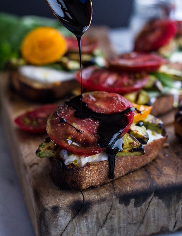 Grilled Caprese Toast with Burrata Cheese + Grilled Avocados | Recipe