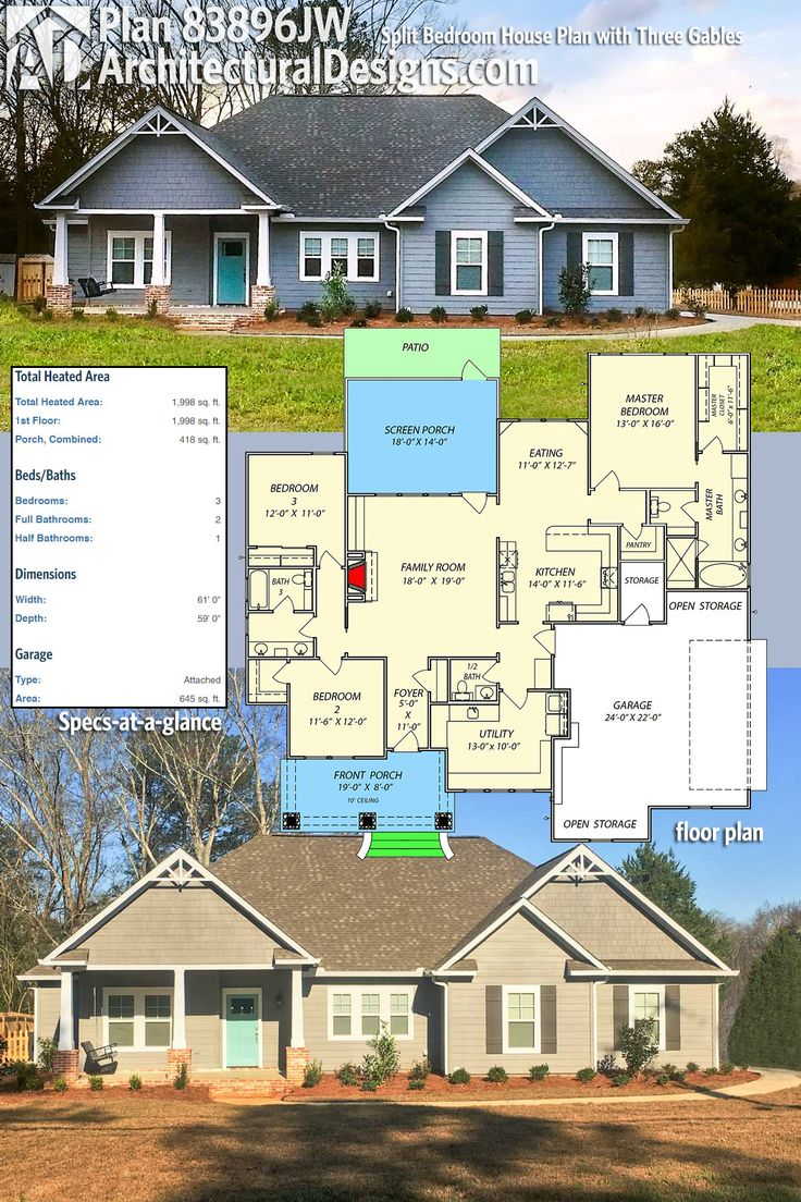 Architectural Designs 3 Bed House Plan 83896JW has a split bedroom layout and a side-entry garage with storage. The home gives you over 1,900 square feet of heated living space. Ready when you are. Where do YOU want to build?