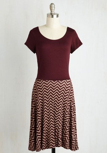 Cheers to Casual Dress in Burgundy Chevron - Red, Tan / Cream, Chevron, Casual, A-line, Twofer, Short Sleeves, Fall, Knit, Good, Mid-length
