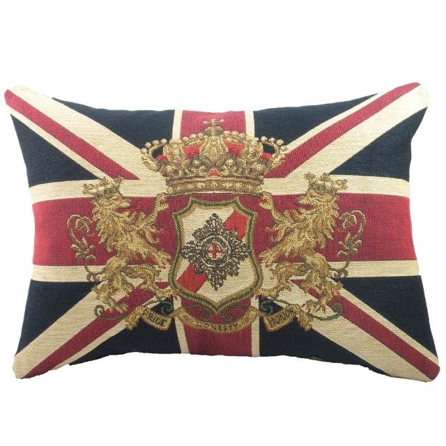 Union Jack and Lions Design Filled Cushion by Evans Lichfield
