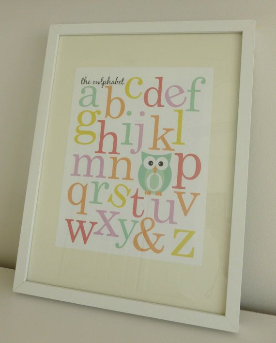 The Owlphabet - Owl Themed Alphabet Nursery Prints - Digital File. $10,00, via Etsy.