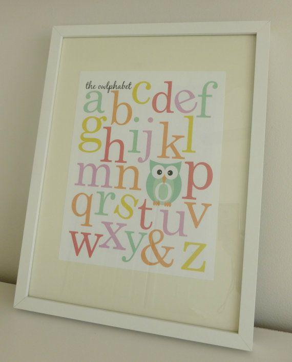 The Owlphabet - Owl Themed Alphabet Nursery Prints - Digital File. $10,00, via Etsy.