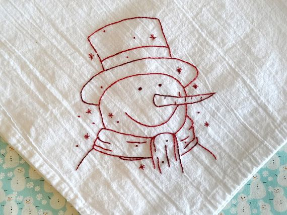 Snowman Redwork Embroidery Flour Sack Towel Kit