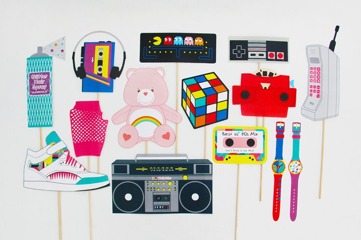 80s Photo Booth Props Printable, 80s Party Decorations | Creative Sense Co