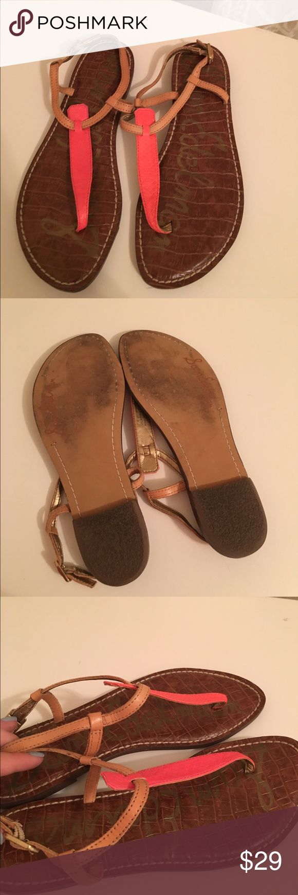 Sam Edelman Gigi Sandals Sam Edelman Gigi Sandals. Dark brown sole. Tan and hot coral/orange leather. Gently used. ✌🏻💗👡 Sam Edelman Shoes Sandals