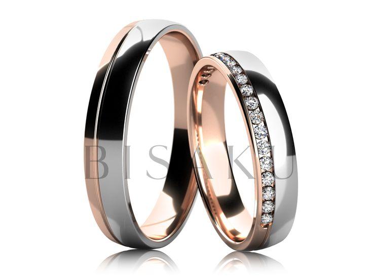 4582-4 Fascinující, nádherné, ideální… U tohoto modelu netřeba šetřit superlativy. Jemná kombinace dvou druhů zlata ve velmi decentním a krásném podání. Bílé zlato převažuje a naopak v červeném zlatě vynikne řada jemných kamínků zasazených do poloviny prstenu. Jednou je vyzkoušíte a už nebudete chtít jiné. #bisaku #wedding #rings #engagement #svatba #snubni  #prsteny