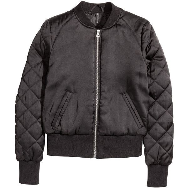 H&M Bomber jacket ($45) via Polyvore featuring outerwear, jackets, zipper jacket, flight jacket, lined bomber jacket, padded jacket and bomber jacket