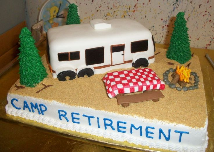 Camping Theme Retirement Cake