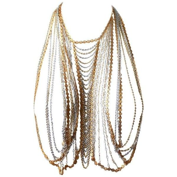 Preowned Trifari Gold And Silver Body Chain ($1,100) ❤ liked on Polyvore featuring jewelry, chain necklaces, gold, preowned jewelry, body jewellery, gold body chain jewelry, gold jewelry and body chain jewelry