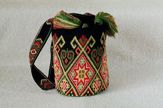 Crocheted Large multicolor Mochila wayuu tecnique tapestry