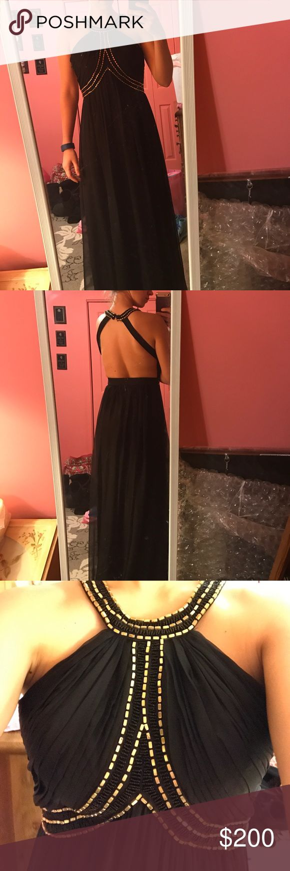 BEAUTIFUL PROM DRESS Black with gold beads beautiful dress. No stains, tears, or rips. Worn once and is in perfect condition for another prom or fancy event. By Bariano Australia bariano australia Dresses Prom