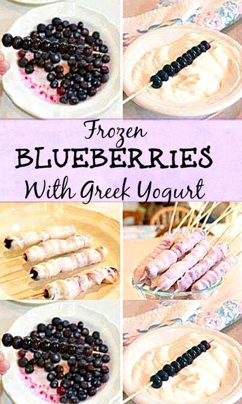 Healthy Snack Idea. You just need blueberries and your favorite yogurt! Perfect for kids and adults #blueberries #fingerfood #healthykids #healthyfamily