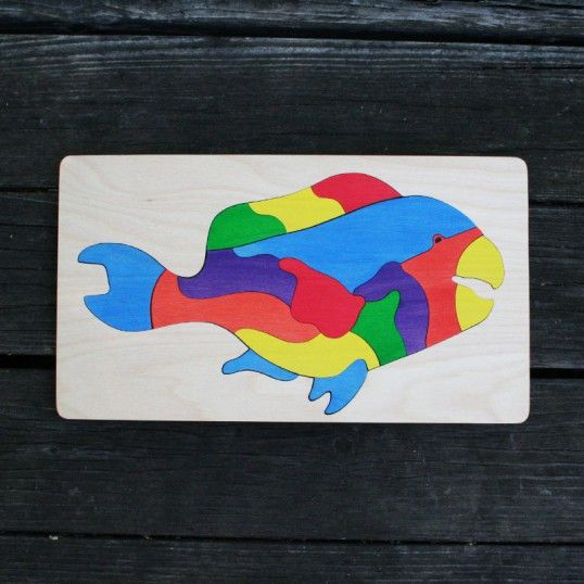 Parrotfish Wooden Puzzle - 13 piece puzzle great for 4-6 year olds. Non-toxic stain won't fade or chip