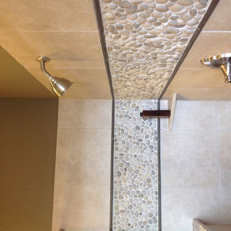 pebbles incorporated in the shower bathroom ideas mosaic