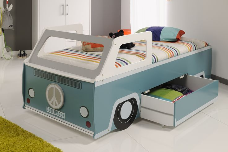 Parisot Cool Wagon - Designed and manufactured in France and beautifully finished to a high quality this is a fabulous bed for any boys bedroom. A lovely grey blue colour with accent colours. With single drawer pull-out deep drawer for lots of storage. Large cupboard at the front of the bed, great for storing toys