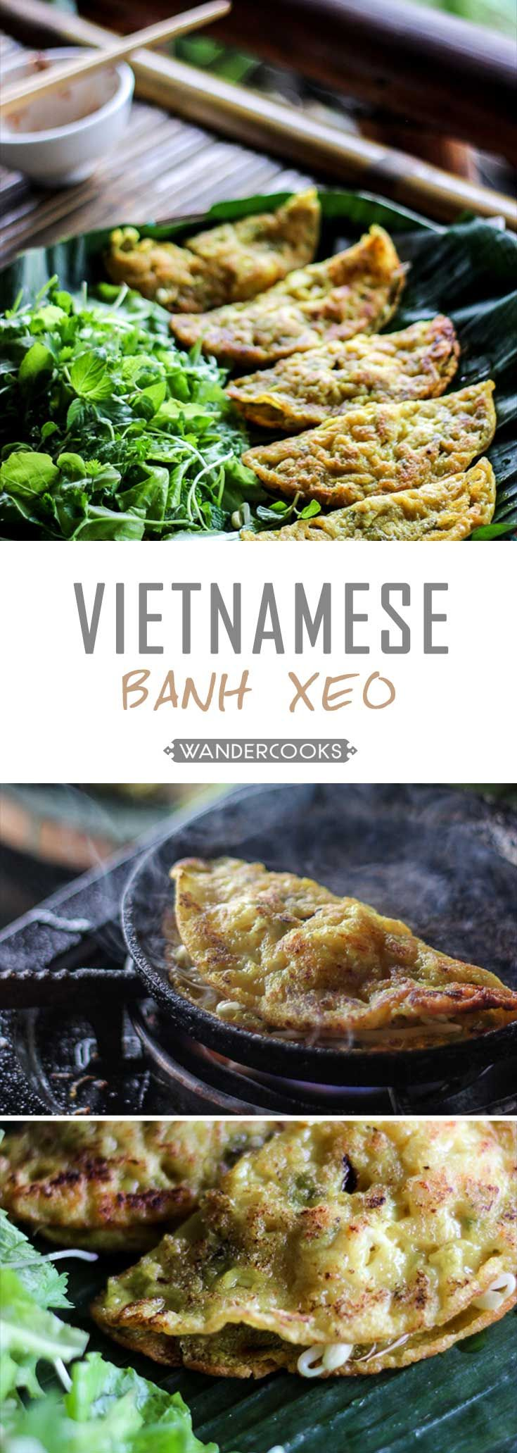 If an omelette and a pancake had a baby, you'd have Banh Xeo. Named for the sizzling sound they make when cooking, they're the perfect filler for Vietnamese Cold Rolls. | wandercooks.com