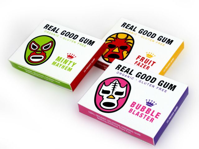 First 100% organic chewing gum. Great, long lasting flavor. No preservatives. Nothing artificial. Gluten free, vegan and biodegradable! By Real Good Inc. 100% fun.