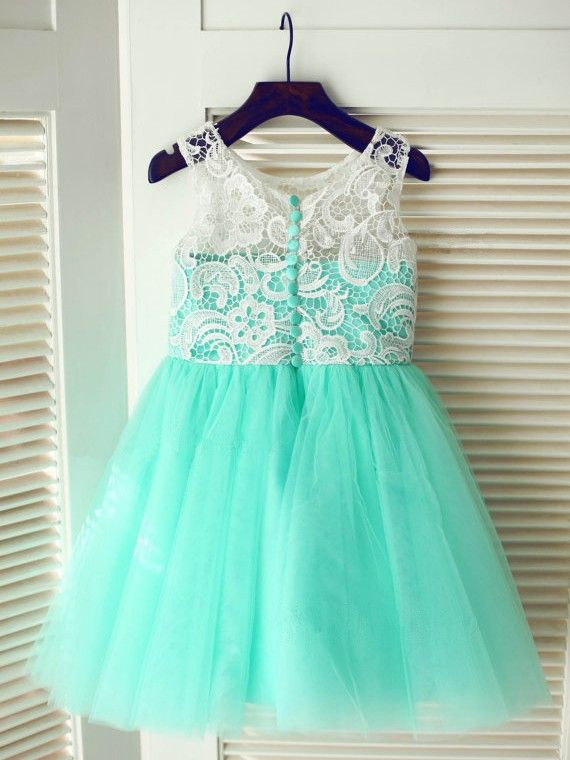 A-line/Princess Scoop Sleeveless Lace Long Tulle Dresses,Flower Girl Dresses