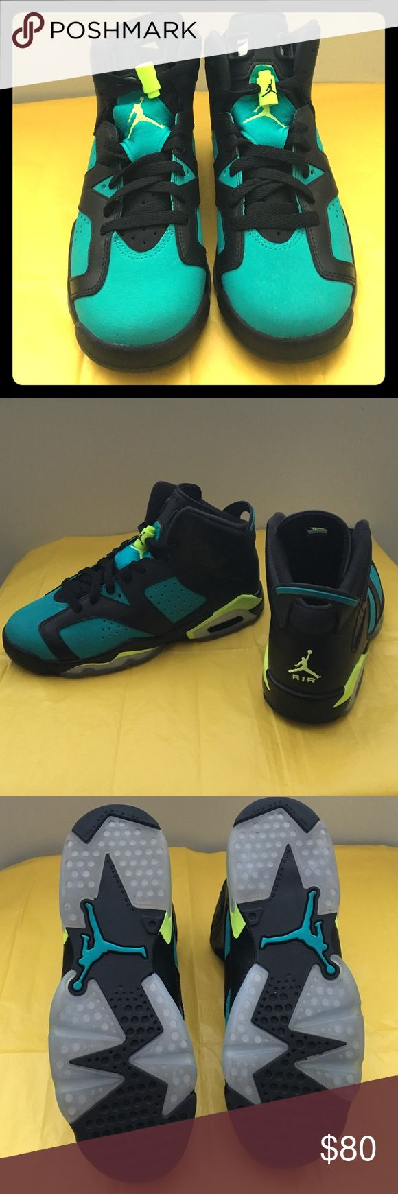 New! Air Jordan Retro 6 GS 'Turbo Green' NWOT! Air Jordan Retro 6 GS Black/Volt Ice-Turbo Green. Size. 5.5Y (youth). No Box. 100% Authentic. Nike Shoes Athletic Shoes